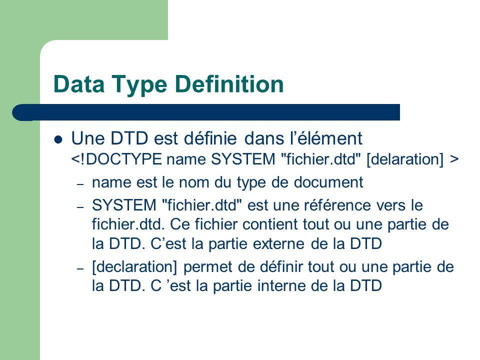 Data Type Definition Une DTD est définie dans l'élément <!DOCTYPE name SYSTEM fichier.dtd [delaration] >